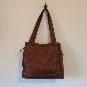 Vintage 1970s brown leather shoulder bag